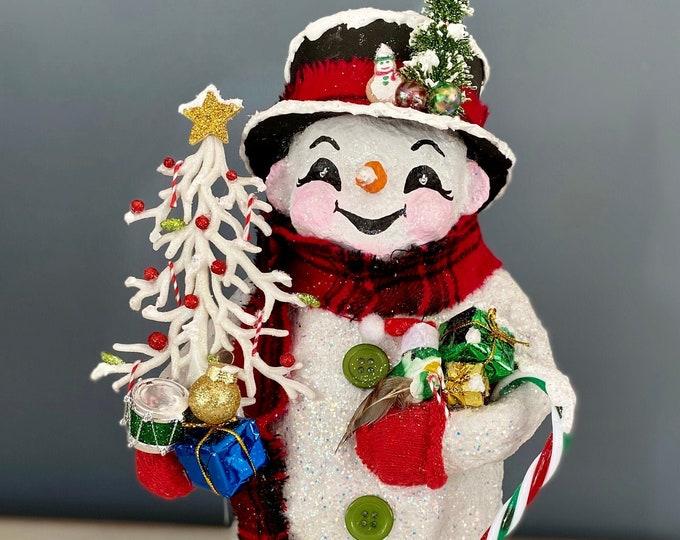 Handmade Christmas Snowman. Paper Mache Sculpture. Winter Snowman Decor. Christmas Decor. Unique Recycled Snowman Sculpture. OOAK Snowman