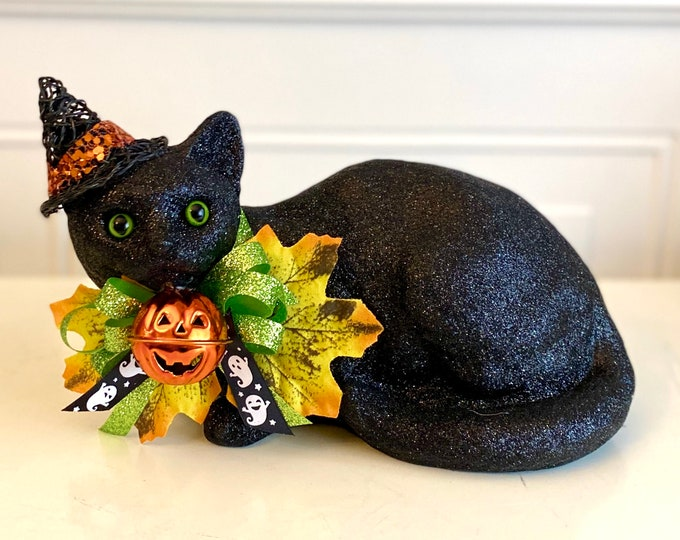 Halloween Black Cat. Halloween Decorations. Halloween Table Cat. Jack-O-Lantern. Cute Cat Decor. Sparkly Black Witch Cat. Decorative Cat.