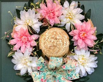 Spring Door Hat. Front Door Wreath. Floral Hat Wreath. Spring Floral Decor. Wicker Hat Decoration. Pink and White Flowers. Spring Wall Decor