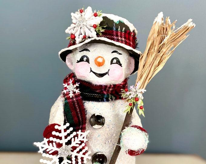 Handmade Paper Mache Snowman. Recycled Sculpture. OOAK Handmade Snowman. Farmhouse Decor. Snowflakes. Winter Decor. Unique Christmas Gifts.