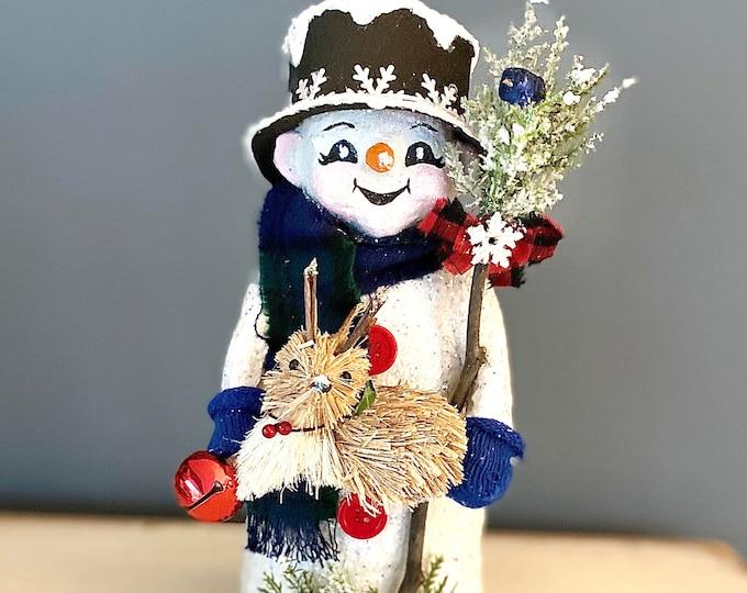 Handmade Paper Mache Snowman. OOAK Handmade Snowmen. Unique Winter Decor. Farmhouse Decor. Recycled Sculpture. Snowman Sculpture Winter Gift