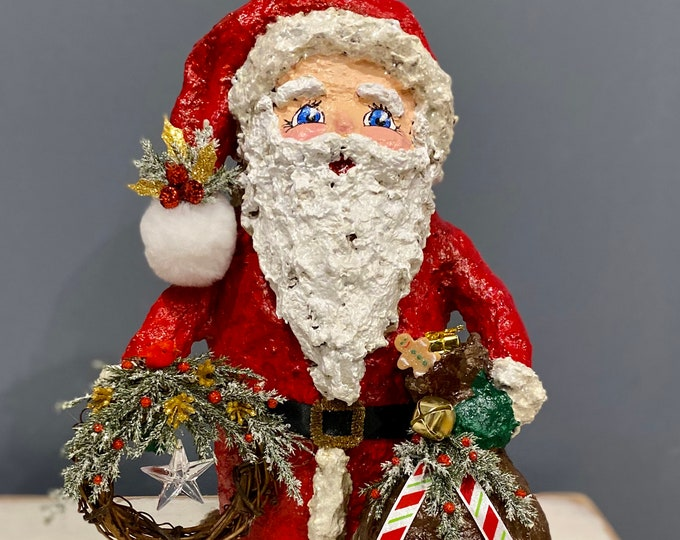 Handmade Santa Claus Sculpture. Santa with his Sack. Paper Mache Santa. Recycled Sculpture. Jolly Old St Nick. OOAK Christmas Sculpture