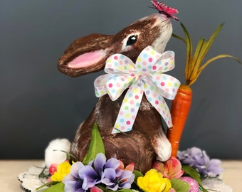 Unique Easter Centerpiece. Spring Centerpiece. Paper Mache Bunny. Easter Decorations. Spring Table. Easter Table. Easter Eggs. Spring Flower