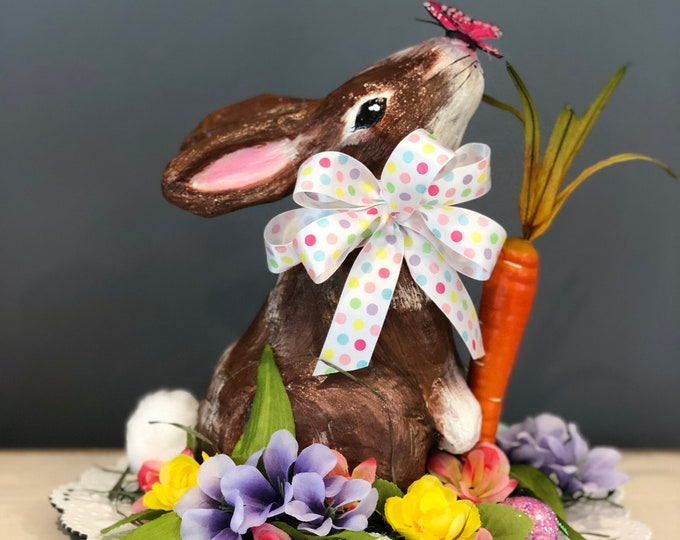 Unique Easter Centerpiece. Spring Centerpiece. Paper Mache Bunny. Easter Decorations. Spring Table. Easter Table. Easter Eggs. Spring Flower
