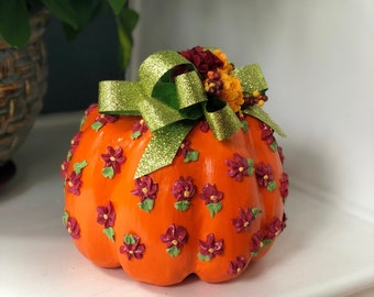 Unique Decorated Pumpkin. Paper Mache Pumpkin. Handmade Pumpkins. Thanksgiving Table Decor. Thanksgiving Hostess Gift. Holiday Pumpkin Decor