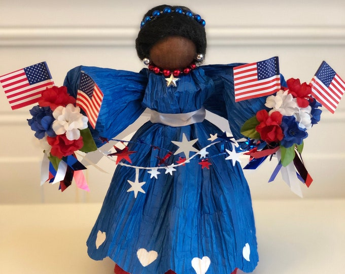 African American Patriotic Doll. Red White and Blue. Stars and Stripes. Fourth of July. Independence Day. Flag Decor. Americana. Black Dolls
