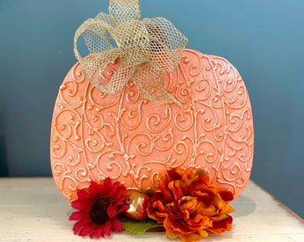 Handmade Scrollwork Pumpkin. Fall table. Autumn Decorations. Unique Pumpkins. Floral Fall Decorations. Elegant Pumpkin Decor. Pumpkin Gifts