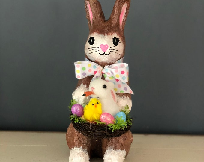 Handmade Paper Mache Sculpture. Bunny Rabbit. Easter Bunny.  Easter Decor. Easter Table.Bunnies and Chicks. Spring Decor. Spring Bunnies