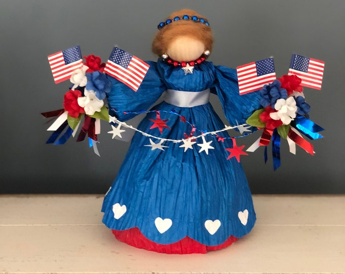 Handmade Patriotic Doll. Red White and Blue. Stars and Stripes. Fourth of July. Independence Day. Memorial Day. Flag Decor. Americana. Dolls