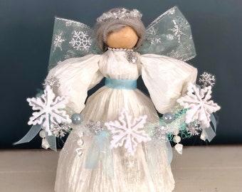 Unique Handmade Snow Angel. Handmade Country Doll. Farmhouse Decor. Unique Religious Decor. Corn Husk Dolls. Winter Decor. Winter Angels