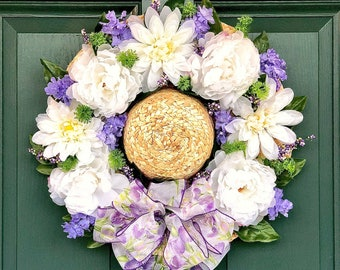 Floral Door Hat. Hat Wreath. Front Door Wreath. Decorative Spring. Floral Decor for Wall and Door. Gifts for Flower Lovers. Purple and White