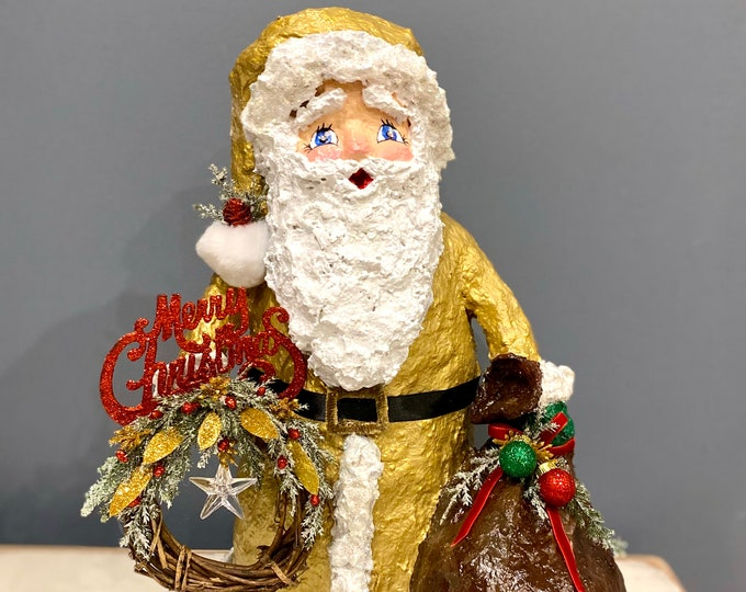 Elegant Handmade Santa Sculpture. 14K Luxe Santa Decor. OOAK Santa. Christmas Table. Merry Christmas Sign. St Nick. Recycled Sculpture