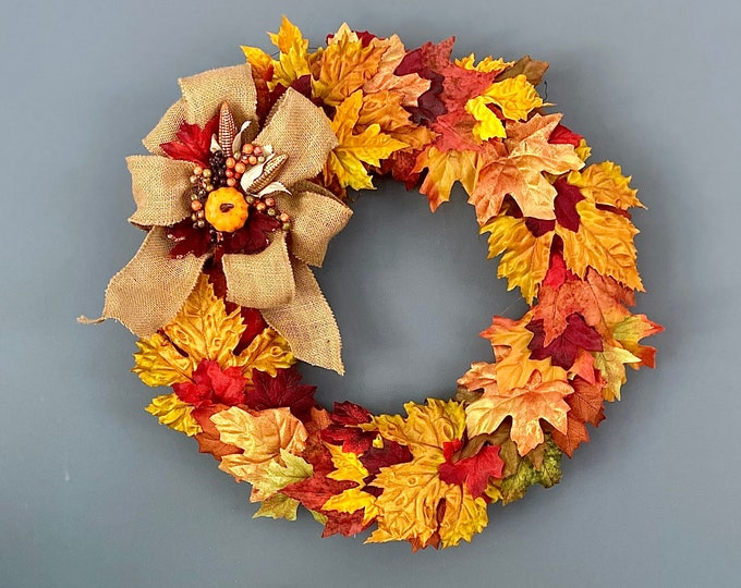 Fall Front Door Wreath. Autumn Leaves. Fall Colored Leaf Wreath. Farmhouse Fall Decor. Colors of Fall. Fall Autumn Wall Decor. Pumpkin Decor