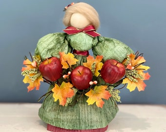 Handmade Apple Doll. Apple Picking Season. Corn Husk Doll. Handmade Fall Doll. Autumn Decor. Fall Table Decor. Apple Decor.  Fall Leaves