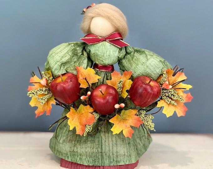 Handmade Apple Doll. Apple Picking Season. Corn Husk Doll. Handmade Fall Doll. Autumn Decor. Fall Table Decor. Apple Decor.  Fall Leaves