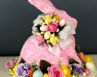 Handmade Paper Mache Sculpture. Easter Bunny Centerpiece. Easter Table Centerpiece. Scrollwork Rabbit. Spring Centerpiece. Easter Gifts