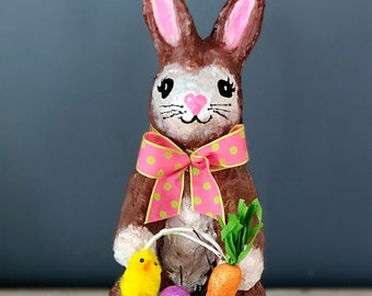 Handmade Paper Mache Sculpture. Handmade Bunny. Bunny Rabbit Sculpture. Easter Bunny Basket. Peter Cottontail. Easter Decor. Spring Decor