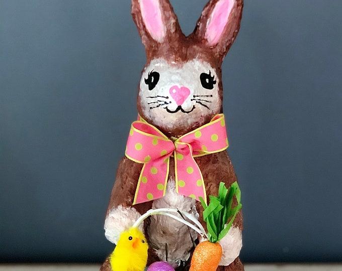Handmade Paper Mache Sculpture. Handmade Bunny. Bunny Rabbit Sculpture. Easter Bunny Basket. Peter Cottontail. Easter Decor. Spring Decor