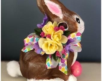 Handmade Paper Mache Bunny.  Spring Bunny Decor. Easter Bunny Decor. Spring Table Decor. Easter Table Decor. Peter Cottontail. Painted Bunny