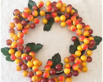 Fall Berry Wreath.  Autumn Wreath.  Berry Accent Wreath. Autumn Candle Ring. Fall Candle Ring. Small Accent Wreath. Thanksgiving Table Decor