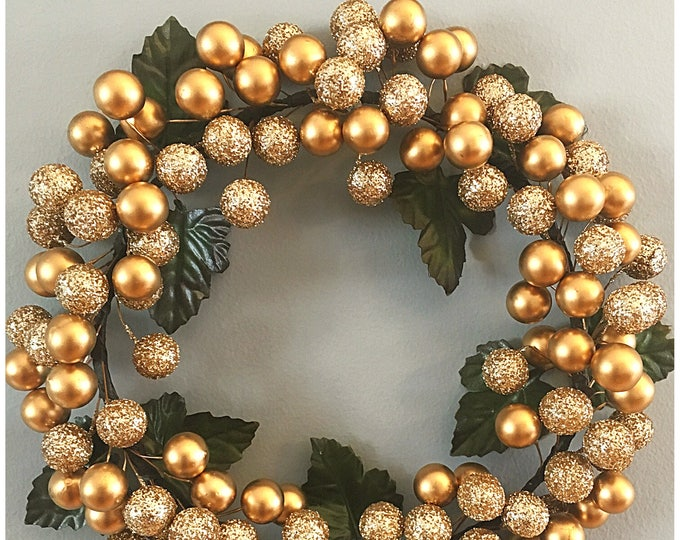 Gold Berry Wreath. Small Accent Wreath. Holiday Berry Hanging. Gold Decor. Christmas Wreath. Gold Berry Candle Ring. Holiday Table. Wall Art