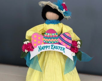 Handmade Easter Doll. Happy Easter. Easter Bonnet Doll. Easter Egg Decor. Easter Table. Unique Easter Decorations. Spring Corn Husk Doll