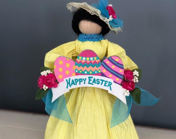 Handmade Easter Doll. Happy Easter. Easter Bonnet Doll. Easter Egg Decor. Easter Table. Unique Easter Decorations. Spring Corn Husk Doll
