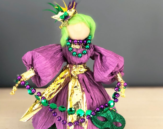 Unique Handmade Mardi Gras Doll.  Fat Tuesday Decor. Mardi Gras Decorations. Country Dolls. OOAK Collectable Dolls.  Handmade Party Decor