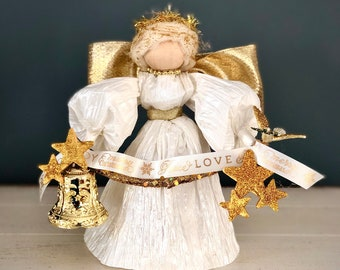 Gold Handmade Angel. Religious Decor. Unique Angel Figurine. Peace Angel. Angel Gifts. Christmas Angel . Farmhouse Decor. Corn Husk Doll