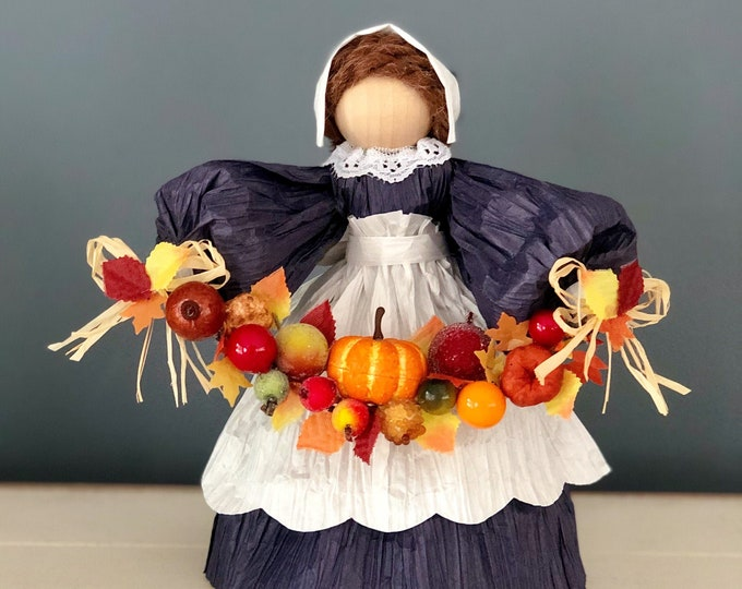 Fall Harvest Doll. Fall Decor. Thanksgiving Table Decor. Thanksgiving Corn Husk Doll. Handmade Fall Doll. Unique Fall Gifts. Autumn Decor