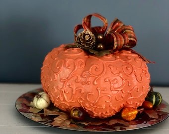Unique Handmade Pumpkin Centerpiece.  Paper Mache Pumpkin. Hand Decorated Pumpkin. Thanksgiving Table. Fall Centerpiece. Pumpkin Decor