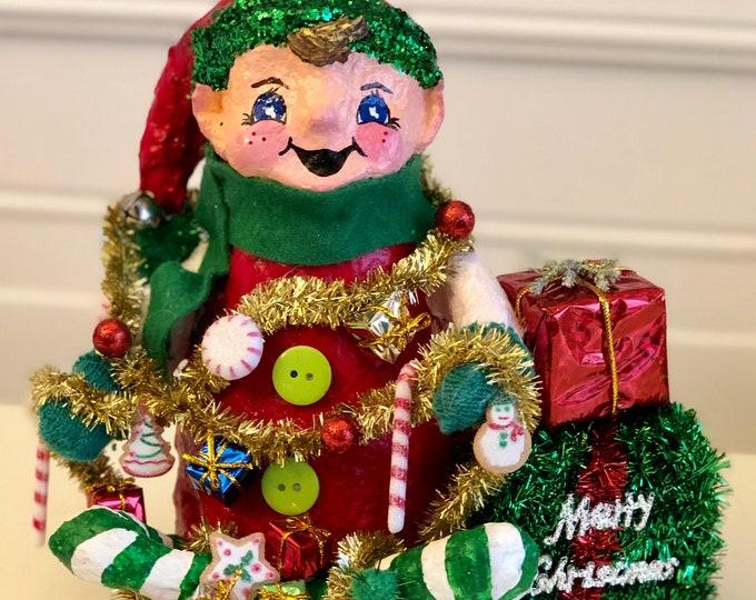 Handmade Elf Figurine. Paper Mache Elf. Recycled Material Sculpture. Decorated Elf. Christmas Elf. OOAK Elf Sculpture. Elf on the Shelf