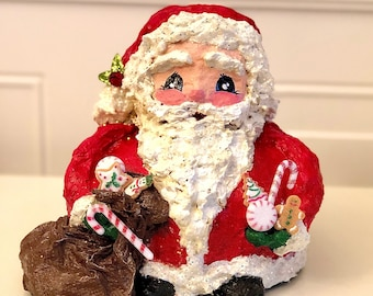 Handmade Chubby Santa Sculpture. Candy Santa Figurine. OOAK Santa Sculpture. Christmas Decoration. Santa with his Sack. Unique Santa Decor.