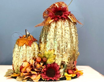 Luxe Golden Pumpkin. Elegant Pumpkin Decor. Thanksgiving Centerpiece. Fall Table Decor. Uniquely Decorated Pumpkins. OOAK Handmade Pumpkins
