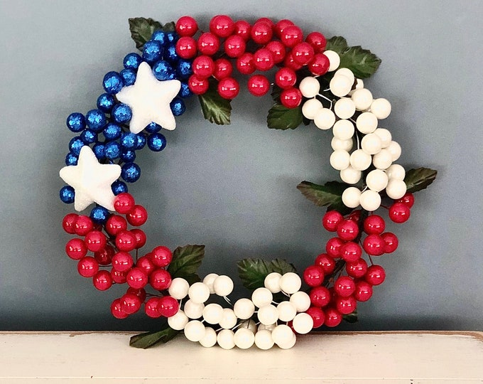 Unique Patriotic Wreath. Stars and Stripes. Red White And Blue. Patriotic Decor. 4th of July. Independence Day. American Flag. Patriotism