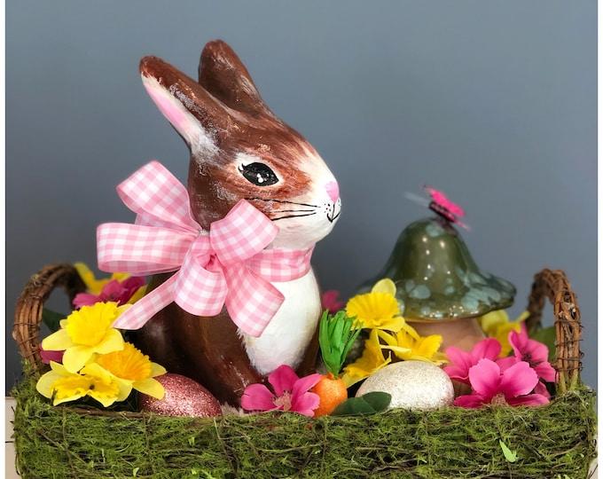 Spring Bunny Basket. Unique Handmade Paper Mache Bunny. Spring Easter Basket. Spring Centerpiece. Easter Rabbit Decor. Floral Bunny Basket