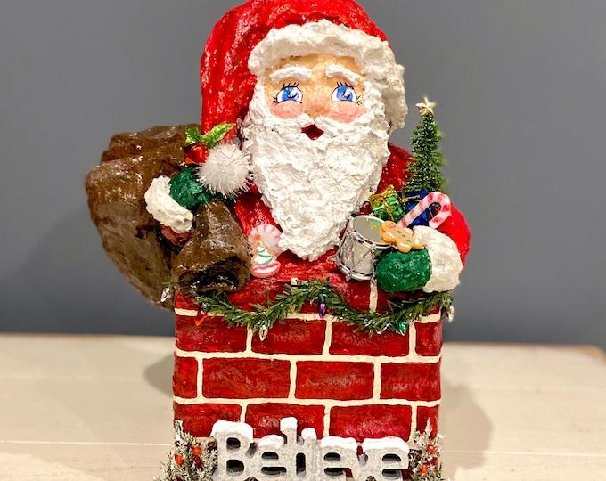 Handmade Santa Chimney Sculpture. Paper Mache Santa Claus. OOAK XMas Decor. Father Christmas. Recycled Sculpture. Believe in Santa Claus