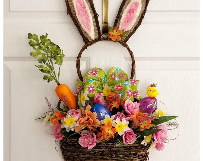 Spring Door Bunny. Spring Wreath. Easter Bunny Decor. Grapevine Bunny Wreath. Spring Floral Decor. Unique Easter Decoration. Bunny Rabbit