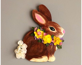 Hand Painted Bunny Wall Hanging. Decorative Bunny Hanging. Adorable Easter Bunny. Floral Bunny Hanging. Spring Bunny Hanging. Easter Decor