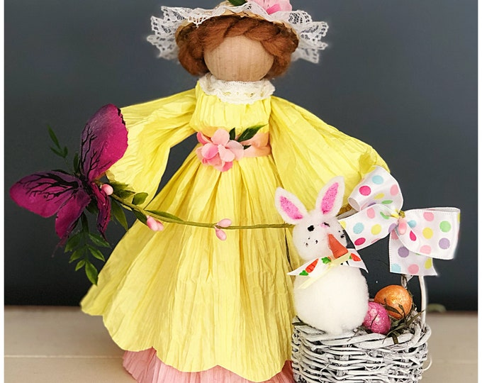 Handmade Easter Doll. Easter Basket with Bunny. Unique Easter Bonnet Spring Doll.  Unique Easter Gifts. Corn husk Doll. Collectable Dolls