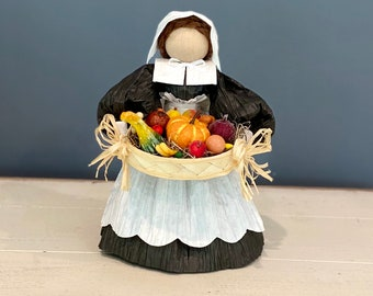 Handmade Pilgrim Doll. Corn Husk Doll. Fall Table Decor. Thanksgiving Table. Autumn Decor. Unique Fall Gifts. Thanksgiving Gift. Harvest.