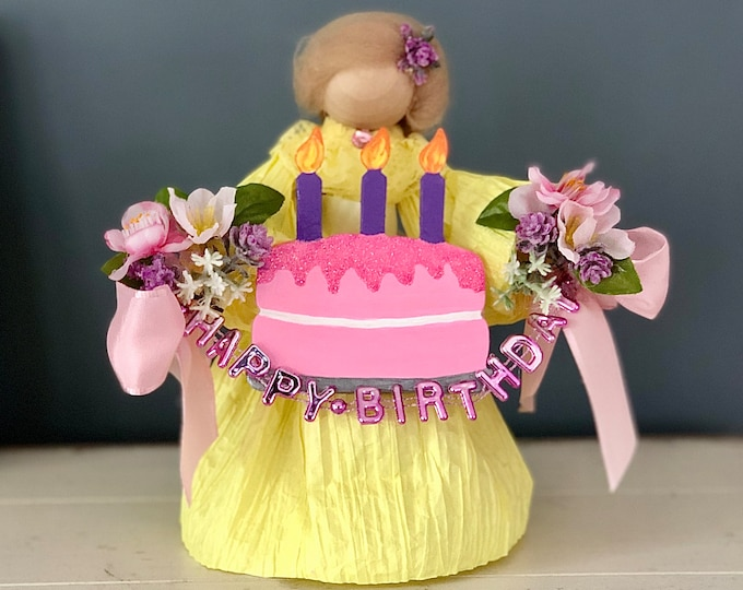 Happy Birthday Doll. Handmade Doll. Corn Husk Doll. Birthday Cake. Unique Birthday Gifts. Decorative Doll. Gifts for Women.  Female Dolls