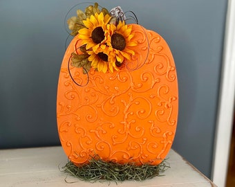 Handmade Wooden Pumpkin. Unique Decorated Pumpkin. Fall Decor. Autumnal Decoration. Thanksgiving Table. Handmade Pumpkin. Scrollwork Pumpkin