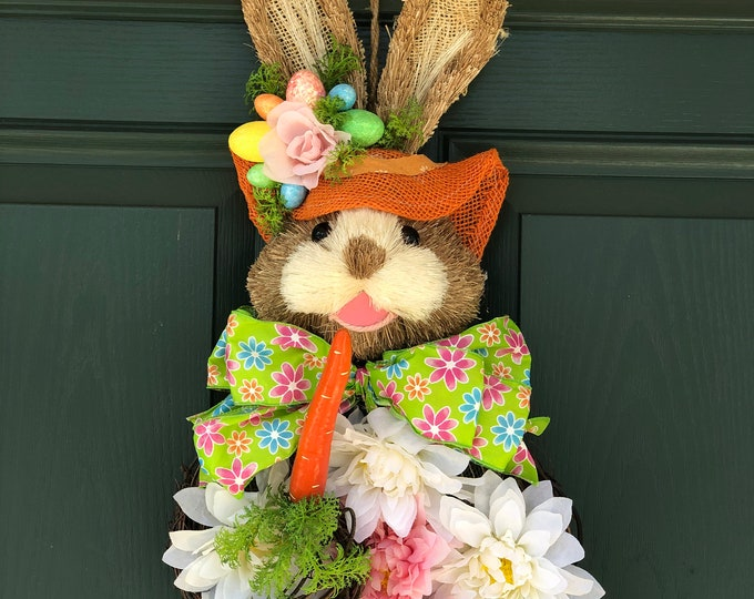 Easter Bunny Wreath. Front Door Wreath. Bunny Rabbit Form. Sisal Bunny Head. Hanging Bunny with Carrot. Easter Decor.  Wall decor for Spring