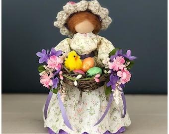 Spring Easter Doll. Easter Figurine. Easter Table Decor. Easter Bonnet. Unique Gifts for Easter. Flower Girl. Spring Figurine. Spring Decor
