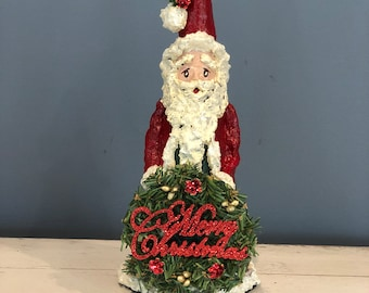 Handmade Paper Mache Santa. Old World Santa. Merry Christmas Wreath. Santa Clause Gifts. Santa Decor. Christmas Decorations. Santa Figurine