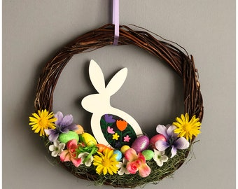 Small Easter Wreath. Painted Bunny Wreath.  Easter Bunny Wreath. Floral Bunny Rabbit Wreath. Painted Wood Bunny. Easter Gift. Easter Basket