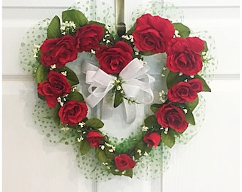 Heart Wall Wreath. Grapevine Wreaths. Hearts and Roses. Gifts of Love. Rose Hearts. Valentine's Day. Valentine's Hearts. Gifts for Her. Love