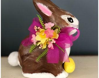Handmade Paper Mache Bunny Rabbit. Hand Painted Bunny. Decorated Bunny. Spring Bunny. Spring Decor. Easter Decor. Easter Table. Spring Table