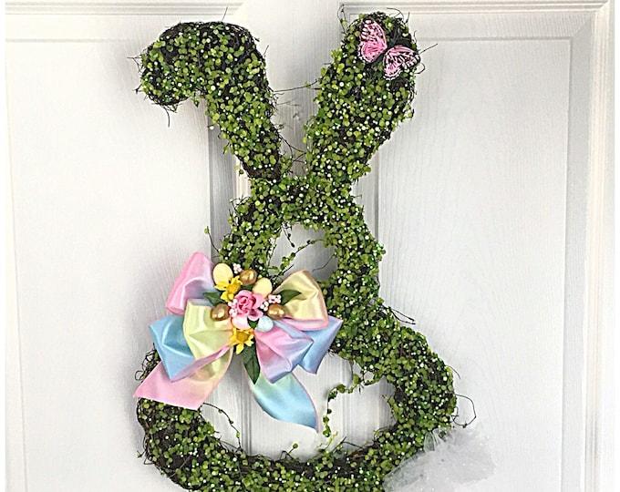 Bunny Door Wreath. Bunny Rabbit. Easter Door Decor. Easter Bunny Decorations. Spring Decor. Easter Door Wreath. Floral Easter Decorations
